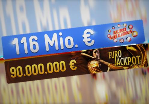 EuroMillions und EuroJackpot Jackpot-Gegenüberstellung