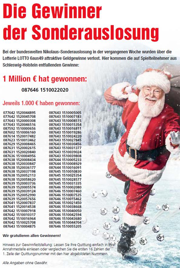 Gewinner Lotto Sonderauslosung